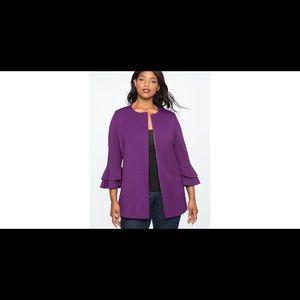 Eloquii Purple Zip Front Ruffle Sleeve Blazer 18